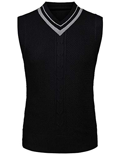 COOFANDY Men's Casual Knit Cotton Pullover Sleeveless Sweater Waistcoat Vest,Black,Medium by COOFANDY (Image #1)