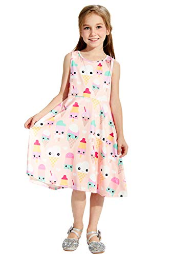 Toddler Girls Cute Dress Pink Ice Cream Kawaii Fancy Patterns Twirl Baby Kid's Bella Princess Dresses Sleevelss Roundneck Midi Stretch Solid Summer T Shirts Skirts for 4T 5T Little Girl Casual Party ()