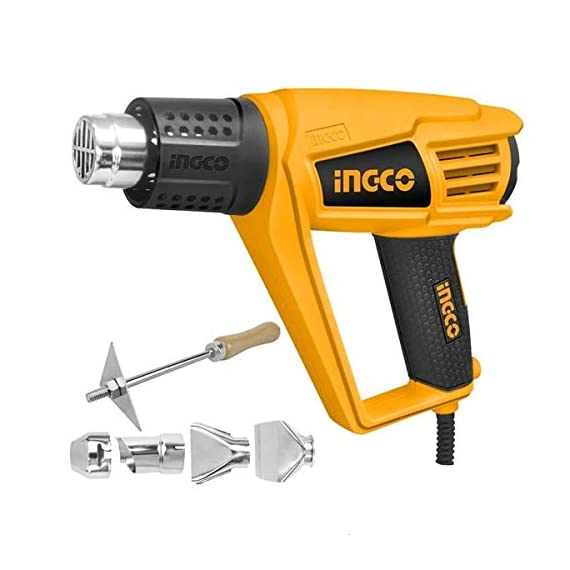 Ingco Plastic Jpt 2000 W Plastic Heat Gun With 6 Accessories, Yellow, Standard Size 1