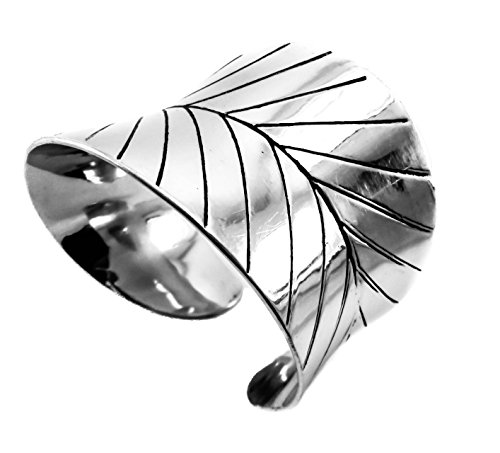 metal embossed Hammered Wave Wide Leaf Cuff Bracelet Stainless Steel , 2 (Hammered Metal Bracelet)