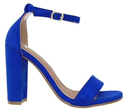 Strap Shoes 1 Chunky MVE Ankle Royalblue Women's Fashion Heeled Sandals ZOxRIqwxn