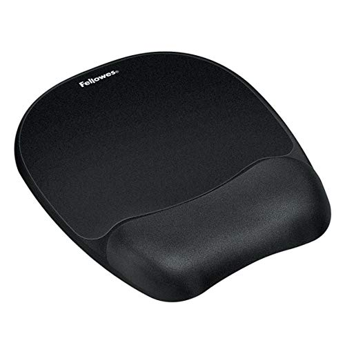 Fellowes Gel Wrist Rest/Mouse Pad, Fabric, Black ()