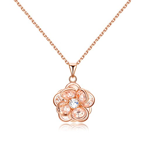 (NEWBARK Cute Crystal Flower Pendant 18k Rose Gold Plated Necklace Girls Jewelry, 20.28