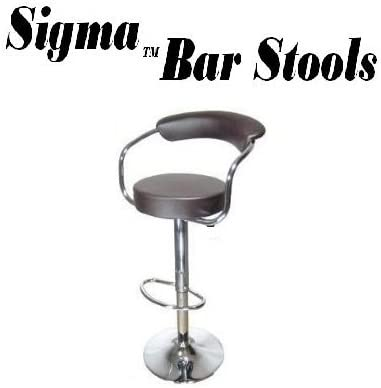 South Mission Sigma High-Back Faux Leather Contemporary Adjustable Bar Stool – Brown Single