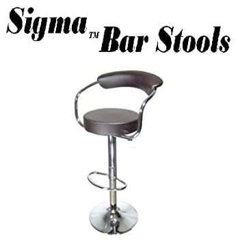 Sigma High-Back Faux Leather Contemporary Adjustable Bar Stool – Brown Single
