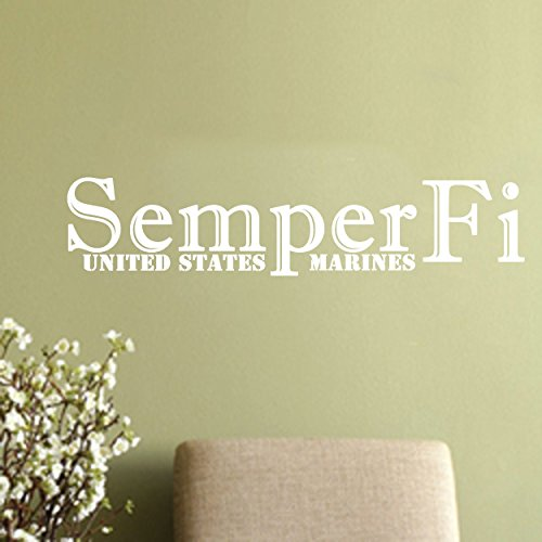 (Semper Fi-Unites States Marines patriotic Wall Decal (White, 36