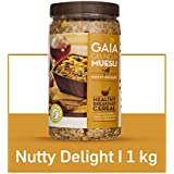 Gaia Crunchy Muesli Nutty Delight with Rolled Oats, Wheat, Corn Flakes, Assorted Nuts and Seeds.1 Kg