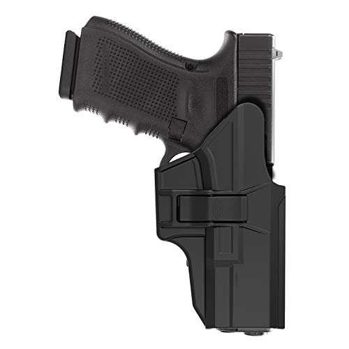 HQDA OWB Holster: Fits Glock 19 19x 23 32 45 (Gen 1-5) G19/G23/G32/G45, Pistol Holder with Belt Clip, Tactical Outside the Waistband Hand-Gun Holsters, Index Finger Release, Right Handed, Black