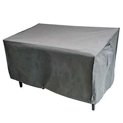 M&H Heavy Duty Waterproof Large Bench and Loveseat Patio Cover - Outdoor Furniture Cover with Padded Handles and Durable Hem Cord, Fits 2-Seat Bench, 58 x 33 x 32 inch, Taupe (Patio Most Furniture Durable)