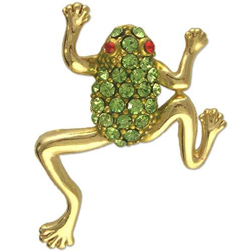 (Crystal Rhinestone Frog Brooch PIN Made with Swarovski Elements (Light Green))
