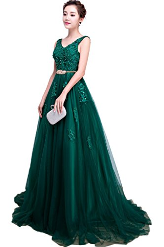 Spitze Promkleid Tuell Abendkleid Applikation Damen Partykleid Dunkelgruen Linie A Lang Elegant Ivydressing Hq6wEn