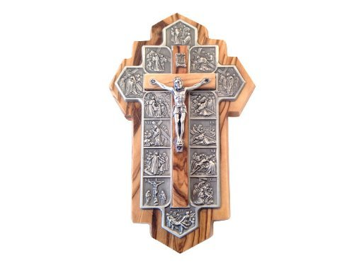 Icon Showing 14 Stations Of The Cross Etched On Metal Holy Land Imports Olive Wood Crucifix 14x9x1 Cm Or 5.5x3.5x.4 Inch