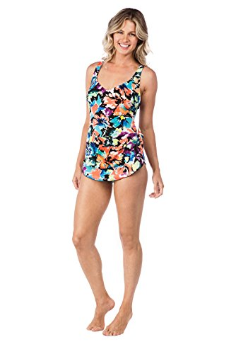7afb083525d87 Maxine Of Hollywood Women s Side Tie Wide Strap Sarong Swim Dress One Piece  Swimsuit