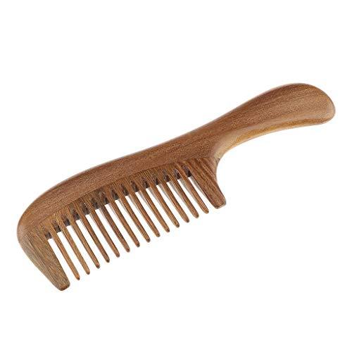 Handmade Sandalwood Handheld Hair Beard Comb Massage Detangling Hair Brush (Style - Wide Tooth)