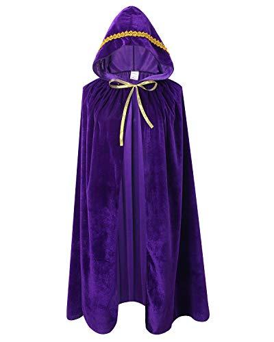 Ourlove Fashion Kids Velvet Cape Cloak with Hood Unisex-Child Cosplay Halloween Christmas Costume (100cm/39.4inch, Purple(Lace))