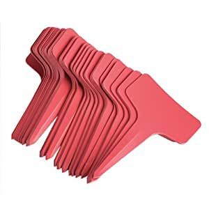 Kinglake Brand New Plastic Plant T-type Tags Markers Nursery Garden Labels 6 x10cm (Red, 50PCS)