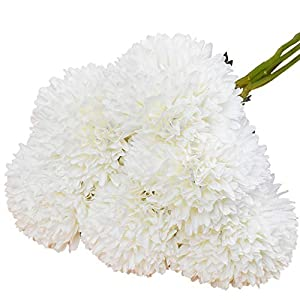 Lacheln Artificial Dahlia Silk Flowers Ball Shaped with Long Stem Pack of 6 for Wedding Party Home Floral Decor (White) 32