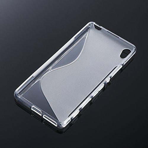 UKCOCO S Shape Transparent TPU Phone Case Gel transparente Silicona Slim Shell Cover para Sony Xperia XA Ultra Cell Phone