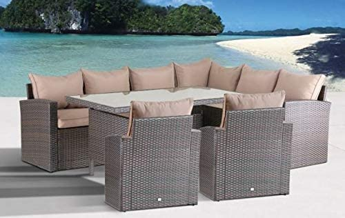 Mandalika Garden Hohe Dinning Poly Rattan Lounge Top XL rechts braun