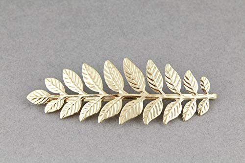 Gold Tone Leaf Clip - Gold tone big Laurel leaf leaves bobby bobbi pin clip barrette hairpin accessory