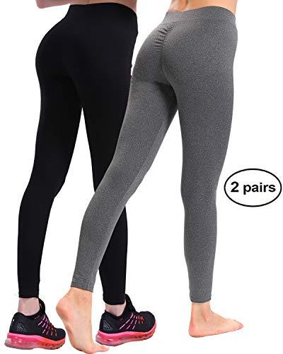 (CHRLEISURE Workout Leggings for Women - High Waisted Leggings with Scrunch Butt, Push Up, V Shape Waist Leggings PBlackADgray S)
