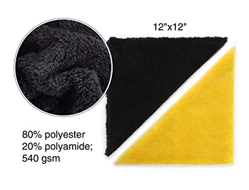 """Microfiber Towels for Cars - Edgeless Microfiber Towel - Compact 12""""x12""""  Car Drying Towel - 540gsm - Microfiber Cleaning Cloth for Cars - Car Wash"""