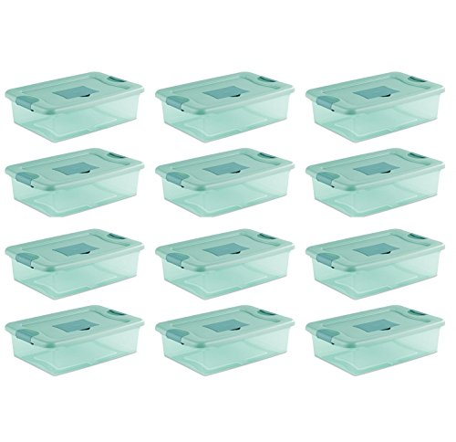 Sterilite 32 Quart Fresh Scent Stackable Plastic Storage Box Container (12 Pack) by STERILITE