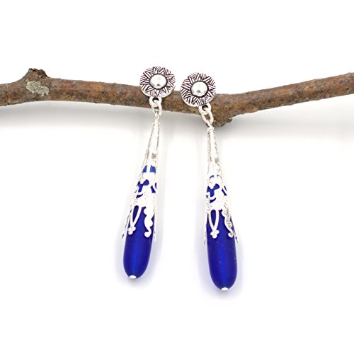 Royal Blue Cultured Sea Glass Tear Drop Earring - Intricate Filigree Cones Ethnic Sun Design 2.5-in (Circular Filigree)