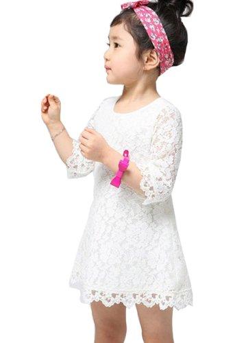 Girls Half Sleeve A-line Dresses Kids Summer Sundress One-piece Dress Skirt