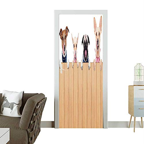 (Door Sticker Wall Decals Row Hungry Dogs GUE Sticking Behind Wall Wood Lunch Time Easy to Peel and StickW35.4 x H78.7 INCH)