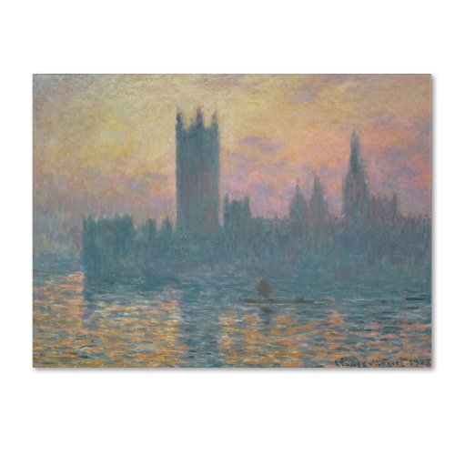 House Fine Art Canvas Print - The Houses of Parliament, Sunset Artwork by Claude Monet, 18 by 24-Inch Canvas Wall Art