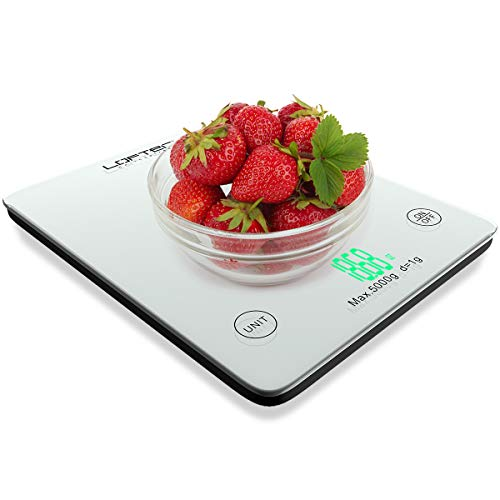 Digital Kitchen Scale, LOFTer Multifunction Food Scale with LED Display for Baking Cooking, 11lb/5KG Capacity, Ultra Slim, Easy to Clean, Tempered Glass Surface Touch Screen, Battery Included, White