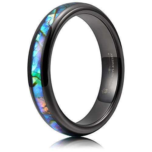 THREE KEYS JEWELRY 4mm Black Tungsten Wedding Ring with Abalone Shell Inlay Engagement Band Domed Size 11 ()