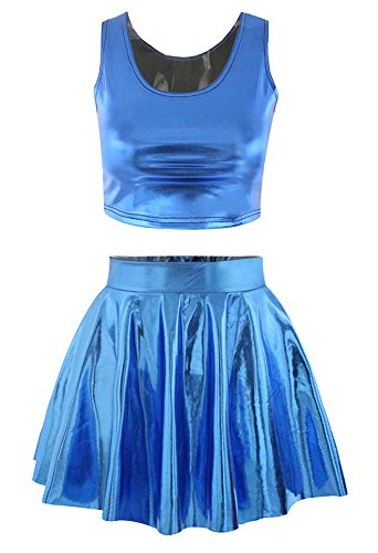 [PU Leather Shiny Crop Tank Top Pleated Skater Skirt Set for Girls Royalblue] (Cheerleader Outfit For Girls)
