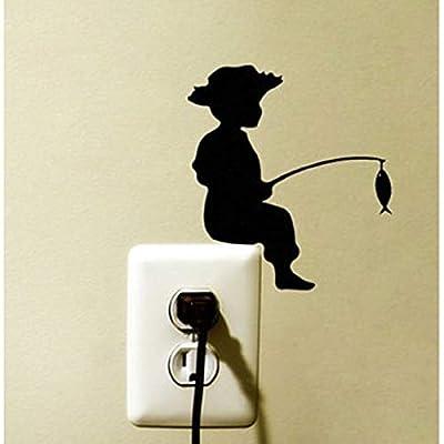 wonder4life Little Boy Fishing Decor Baby Room Fashion Silhouette Creative Wall Stickers Switch Sticker