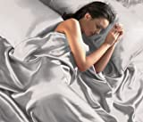 SILVER Satin Double Bed Duvet Cover & Fitted Sheet Set