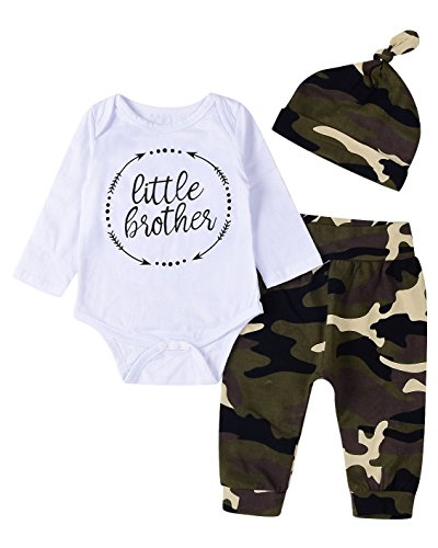 3Pcs Baby Boys Little Brother Camouflage Soldier Veterans Day theme Outfits Set (0-6M(Tag70), Longsleeve)