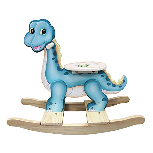 - Fantasy Fields - Dinosaur Kingdom Thematic Wooden Rocking Horse for Kids | Imagination Inspiring Hand Painted Details | Non-Toxic, Lead Free Water-based Paint