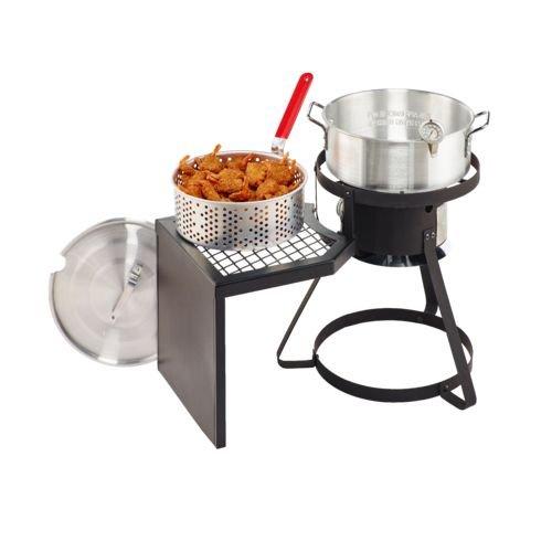 Pro 10 qt fish fryer set wit with side table turkey for Fish cooker burner