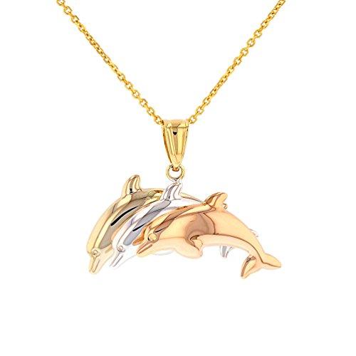 (High Polish 14K Tri-Color Gold Dolphin Pendant Necklace, 16