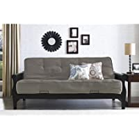 Better Homes and Gardens 3202098 Solid Wood Arm Futon with 8' Coil Mattress, Converts to a Full Size Sleeper, Gray Linen Color