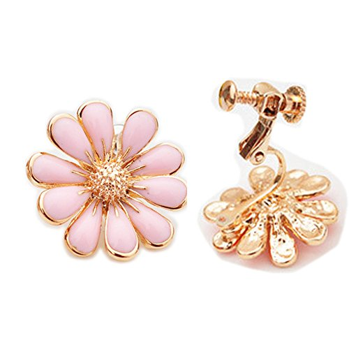 Latigerf Gold Plated Women's Flower Screw Back Non-Pierced Clip on Earring Clips for non Pierced Ears