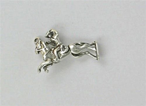 - Sterling Silver 3-D Movable Bronco Rider Charm - Jewelry Accessories Key Chain Bracelet Necklace Pendants