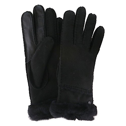 UGG Women's Exposed Waterproof Sheepskin Tech Gloves with Slim Pile Black MD by UGG