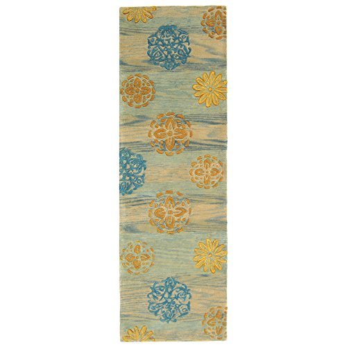 10' Rodeo Drive Collection (Safavieh Rodeo Drive Collection RD882A Handmade Floral Abstract Blue and Multi Wool Runner (2'6