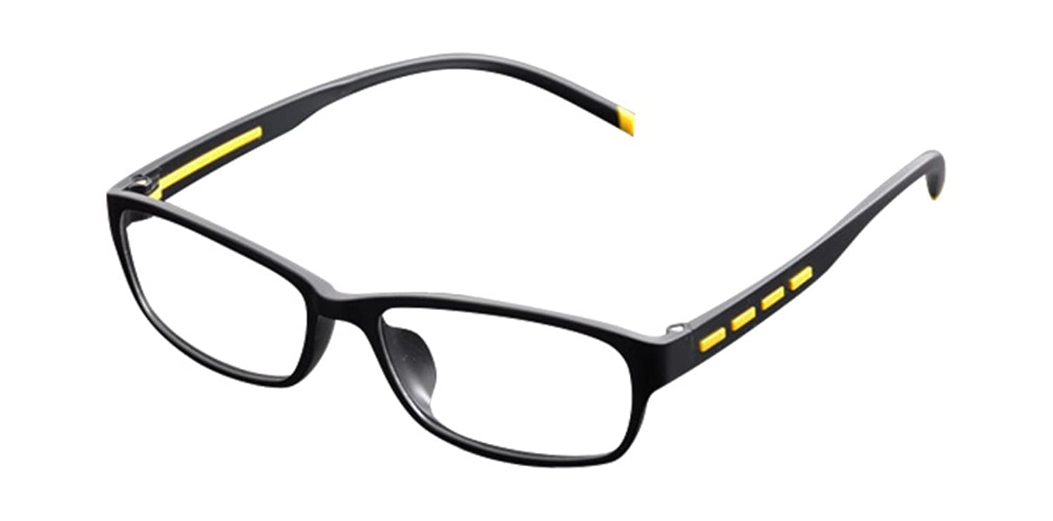 De Ding Unisex Eyewear Fashion Clear Lens Eye Glasses Frames Black Yellow