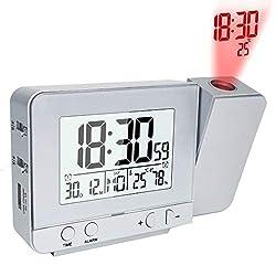 WonderKathyDigitalTimeProjectionAlarmClockonCeilingWall,LEDDigitalDeskTableShelfClockwithDimmer,IndoorThermometerHygrometer,USBCharger forBedrooms,Teens,AC&BatteryBackup(Silver)