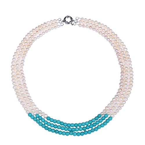 (Gem Stone King 20 Inch 3-Row Turquoise Dyed Howlite & White Cultured Freshwater Pearls Necklace)