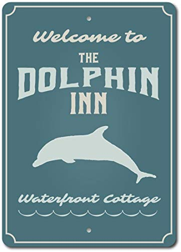 Anyuwerw Dolphin Inn Sign, Dolphin Lover Gift, Dolphin Sign, Welcome Dolphin Decor, Dolphin Beach Sign, Dolphin Lover Sign, Dolphins, Quality Metal,Warning Metal Sign