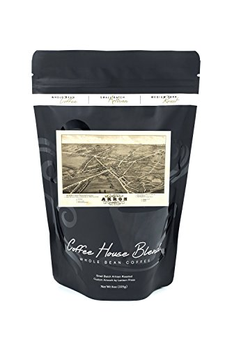 Akron, Ohio - (1882) - Panoramic Map (8oz Whole Bean Small Batch Artisan Coffee - Bold & Strong Medium Dark Roast w/ (1882 Antique Map)